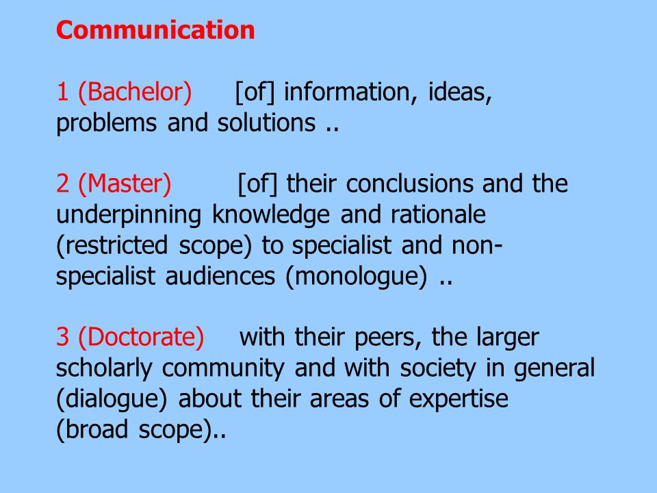 Communication 1 (Bachelor) [of] information, ideas, problems and solutions ..